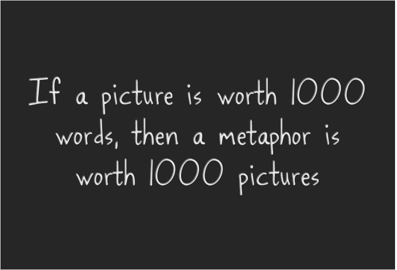 If a picture is worth 1000 words, then a metaphor is worth 1000 pictures